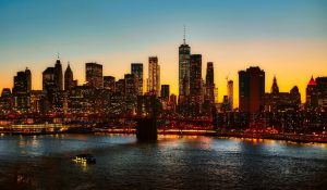 new york city, manhattan bridge, skyline
