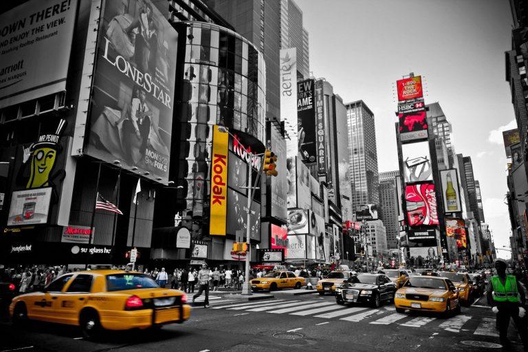 new york, red, yellow