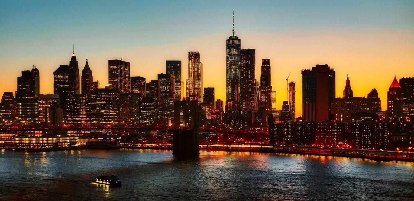 new york city, manhattan bridge, skyline
